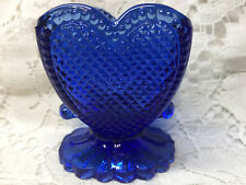 neon Blue Vaseline glass toothpick holder uranium heart pattern art cobalt glow