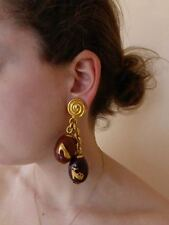 New Salvatore FERRAGAMO dress EARRINGS Faberge eggs $425 ITALY