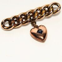 Victorian Curb Link Brooch Sapphire Puffy Heart Dropper 9ct Rose Gold