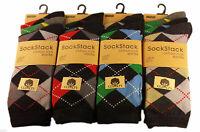 Mens socks Argyle Diamond Cotton Rich Lycra Size 6 11 Lot uk soft sock