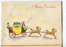 VINTAGE 1940'S CHRISTMAS COUNTRY SHABBY HORSE BUGGY RIDE CHIC GREETING ART CARD