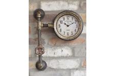 Wall Clock Industrial Pipe Work Distressed Metal Rust Vintage Design Plumbing...
