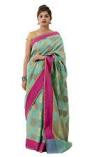 Indian Bollywood Saree Cotton Silk Fabric Turquoise Pink Designer Wedding Sari