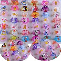 2019 20Pcs Wholesale Mixed Cartoon Children Kids Resin Lucite Rings Xmas Gifts
