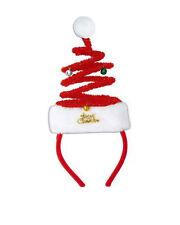 Santa Adult Springy sparkly Headband w/velvet covered- white pom pom on top.
