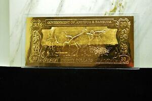 23K GOLD BANK NOTE ANTIGUA AND BARBUDA $30 BLACK-NECKED STILT