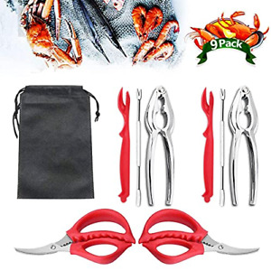9Pcs Seafood Tools Set Crab Lobster Crackers Stainless Steel Forks Opener Crab