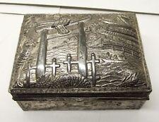 Vtg Art Deco Cigarette Box Case Holder Wood Lined Metal Japan Gate Dragon Torii