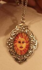 Sun Silvertone Oval Pendant Necklace Floral Rim Dogwood Orange Spiked Smiling