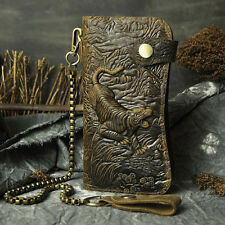 Vintage Men Cowhide Genuine Leather Wallet 3D Tiger Embossing Purse With Chain