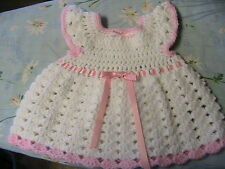 WHITE SHELLS with PINK TRIMS CROCHET BABY DRESS size 0-6 mos pink flower buttons