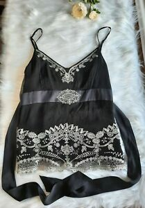 Monsoon 100% Silk Black Camisole Vest Top Size 14 New With Tags Y2K Embroidered