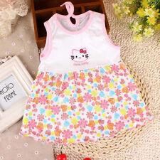Baby Newborn Girls Infant Cartoon Flower Summer Dress Clothes Sleeveless
