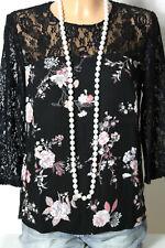 Bluse Gr. 36 schwarz-weiß-rosa 3/4-Arm Blumen Bluse mit Spitzen Ärmeln