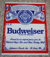VINTAGE BUDWEISER ACRYLIC LABEL INSERT - REPLACEMENT FOR BEER BOTTLE NEON SIGN