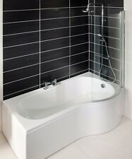 1700mm P Shape Shower Bath with Panel and Screen