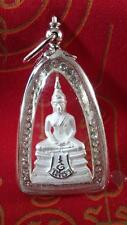 Phra Sothorn Meditation Post Amulet-Plated Silver-Wat Keawjamfa