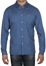 Lacoste Men's Regular Fit Solid Poplin Long Sleeve Cotton Shirt CH5027 PQ8 Blue