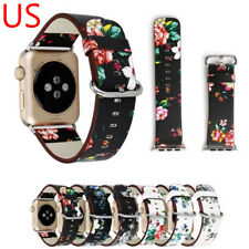 Retro Floral Flower Genuine Leather Band Belt Strap For Apple Watch Series 3 2 1