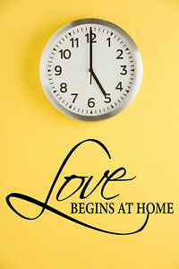 LOVE BEGINS AT HOME vinyl wall sticker saying words family quote decal decor