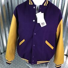 DeLong Varsity Jacket Purple Wool Blend Yellow Arms Leather Polyester Lining  L