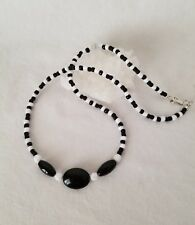 Onyx Black And White Beaded Necklace With Sterling Silver Clasp