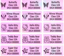 60 Pink Rainbow Personalised Customised Name Stickers Vinyl Tag Label, 3.0X1.5CM