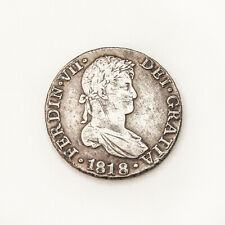 Antique Spanish Silver 8 Reals Coin 1818