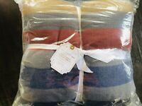 Pottery Barn Teen Northwest Stripe Throw Blanket 50x60 New Christmas Sherpa Back