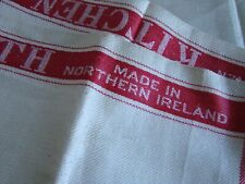 More details for 2 antique vintage 1950s irish linen kitchen tea towels unused deadstock aga