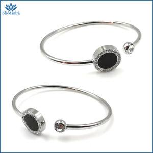Bracciale da donna rigido con cerchio braccialetto zirconi in acciaio inox per a