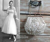 VINTAGE 1950s IVORY SILK SATIN GLASS BEADED EVENING BAG BRIDAL HANDBAG BEAUTIFUL