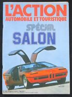 Revue L'ACTION AUTOMOBILE 1973 Spécial SALON prototype BMW turbo