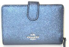 Coach Navy Metallic Cross Grain Leather Medium Corner Zip Wallet F23256 NWT $165