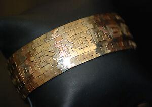 Original Retro 18k Tri-Colored Gold Greek Design Cuff Style Bracelet 56g 18k