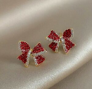 BOWKNOT BRILLIANT ENGAGEMENT STUD EARRING'S 14K YELLOW GOLD PLATED 2.02 CT RUBY