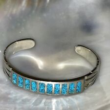 Turquoise Inlaid Chips Southwest Cuff Brace Estate Etched Silvertone w Faux Blue