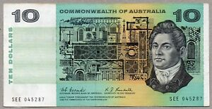1967 AUSTRALIAN COOMBS/RANDALL $10 Note VF+ SERIAL NUMBER SEE 0425287