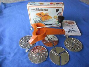 Mouli-Julienne #445 ~ Orange ~ 5 Disc Shredder, Grater, Slicer ~ France W/Book