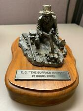 """MICHAEL RICKER'S PEWTER K.C. """"THE BUFFALO HUNTER"""" SCULPTURE NUMBERED WOOD BASE"""