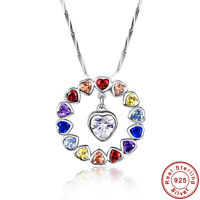 5.5CT Heart Cut Multi-Coloured Topaz 100% 925 Sterling Silver Pendant Necklace