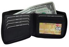 Men's Bifold Leather Wallet Zipper Around Black Secure Zip Billfold New