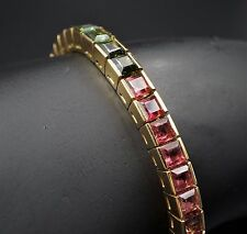 "18k Yellow Gold Rainbow Green Pink Tourmaline Tennis Bracelet 7"" BG214"