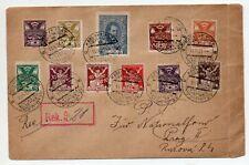 1921 CZECHOSLOVAKIA REG COVER, 11 COLORS FRANKING, ZIONIST CONGRESS !