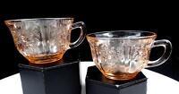 "FEDERAL GLASS DEPRESSION ERA SHARON PINK 2 PIECE 2 3/8"" CUPS 1935-1939"