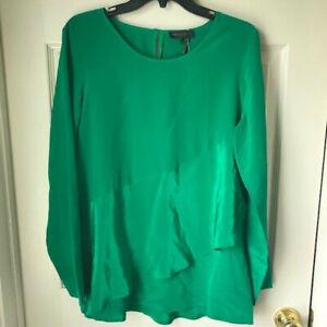Donna Karan Layered Top Tunic 100% Silk Green Long Sleeve Black Label Size M