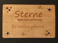 Grußkarte Holz Geschenk Karte Baby Geburt Taufe  Geschenkkarte Sterne geboren