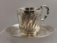 Tasse et sous- tasse  Gallia Christofle en métal argenté art nouveau
