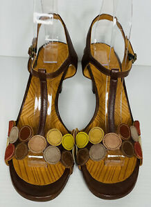Chie Mihara Sandals. Leather with Circle Design. Size 38.