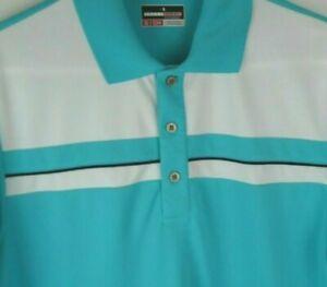 Grand Slam Performance Mens Small Teal White Short Sleeve Golf Polo Shirt